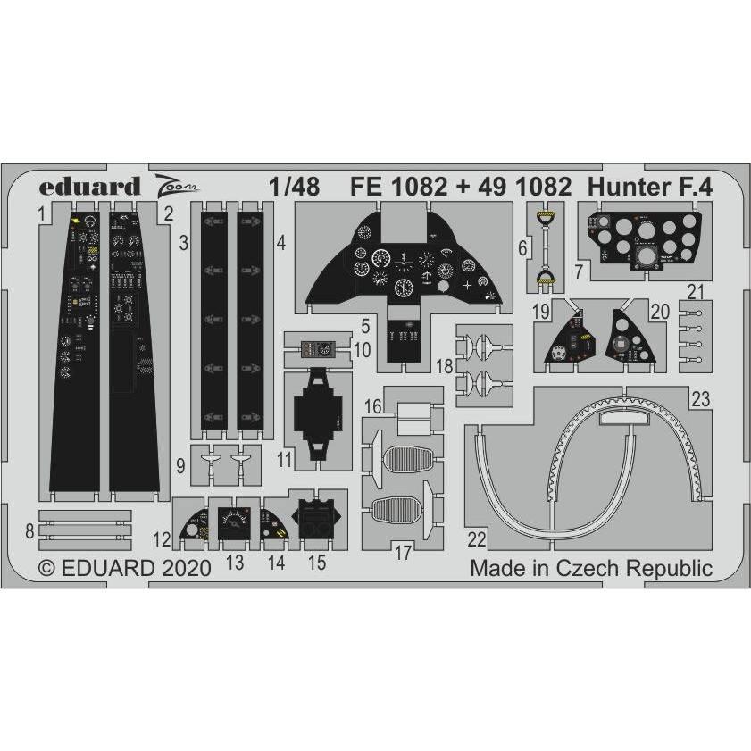【新製品】491082 塗装済 ホーカー ハンター F.4 エッチングパーツ(エアフィックス用)
