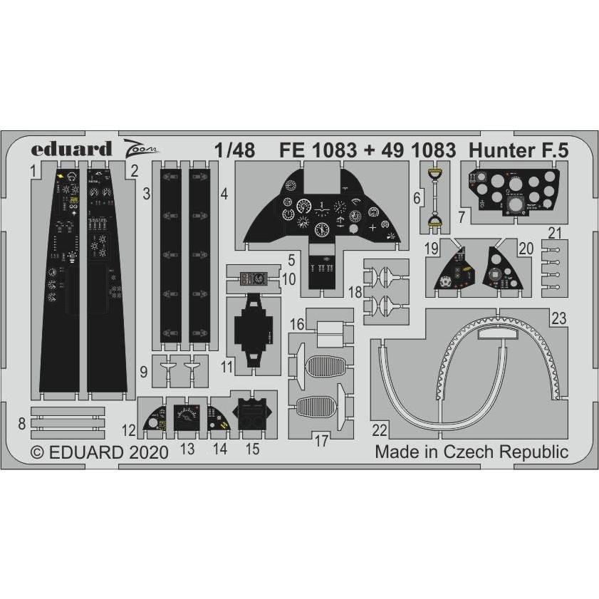 【新製品】491083 塗装済 ホーカー ハンター F.5 エッチングパーツ(エアフィックス用)