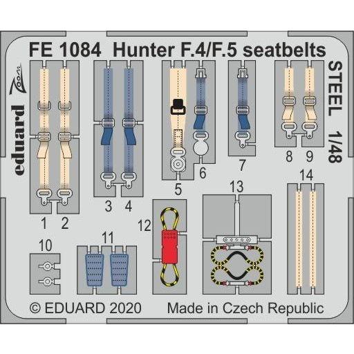 【新製品】FE1084 塗装済 ホーカー ハンター F.4/F.5 シートベルト (ステンレス製)(エアフィックス用)
