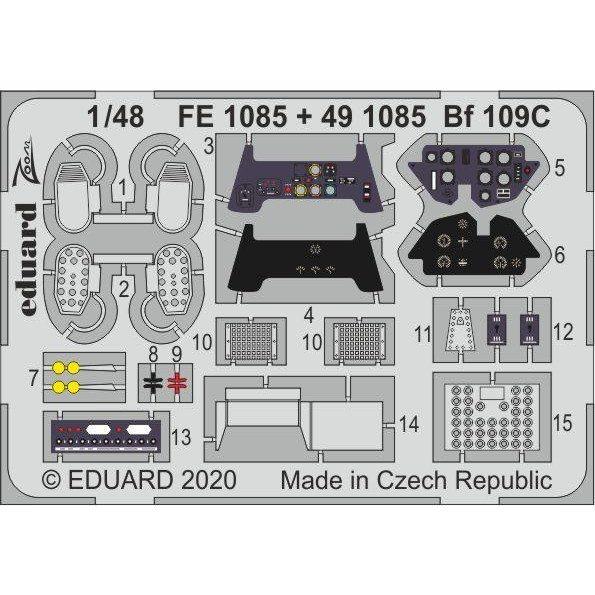 【新製品】FE1085 塗装済 Bf109C ズームエッチングパーツ (モデルズビット用)