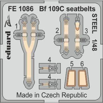 【新製品】FE1086 塗装済 Bf109C シートベルト (ステンレス製) (モデルズビット用)