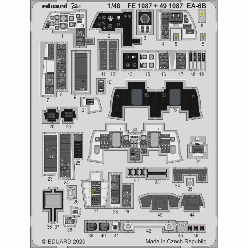 【新製品】FE1087 塗装済 EA-6B プラウラー ズームエッチングパーツ (キネティック用)