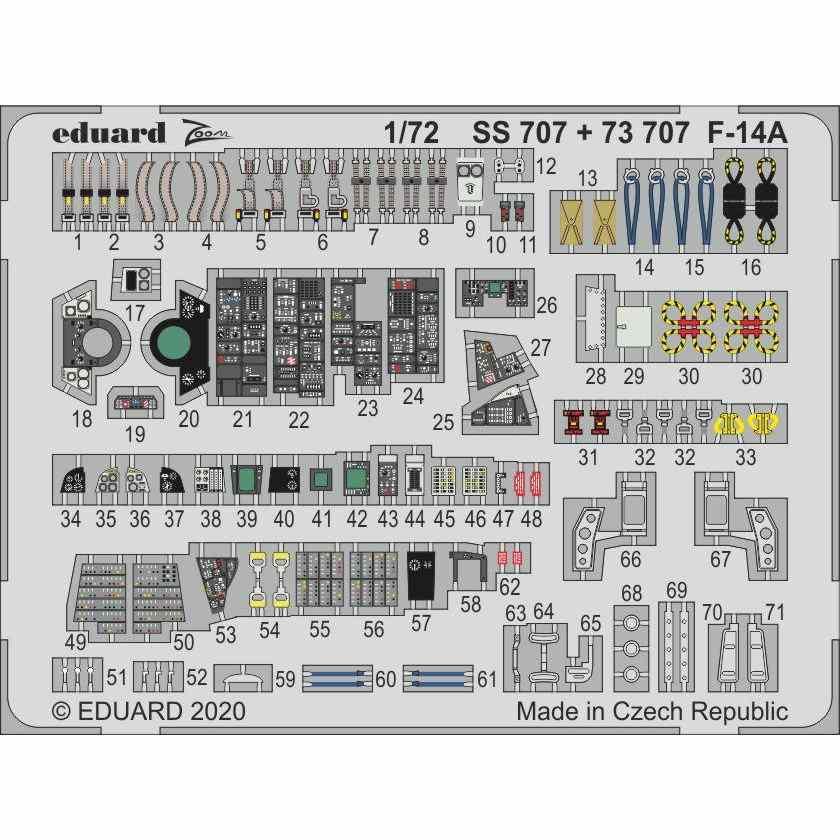 【新製品】SS707 塗装済 F-14A ズームエッチングパーツ (アカデミー用)