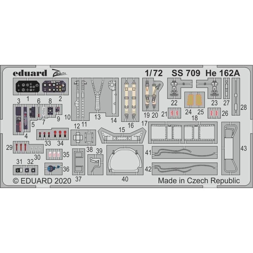 【新製品】SS709 塗装済 He162A ズームエッチングパーツ (スペシャルホビー用)
