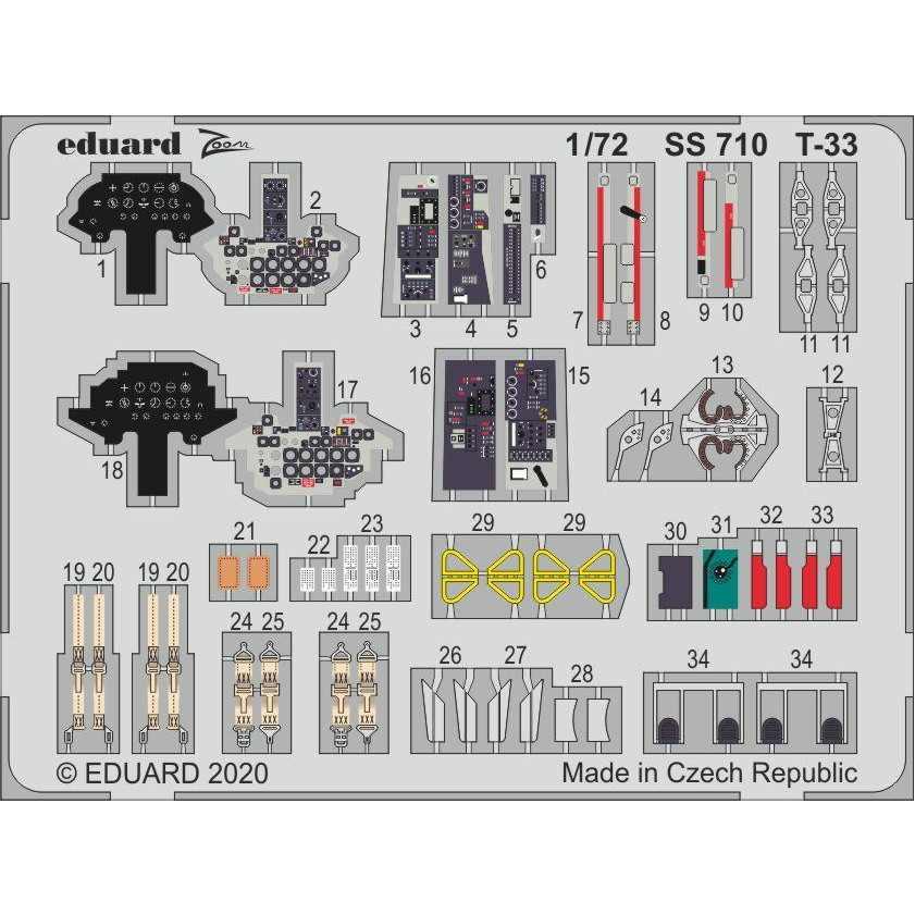 【新製品】SS710 塗装済 T-33 ズームエッチングパーツ (プラッツ用)