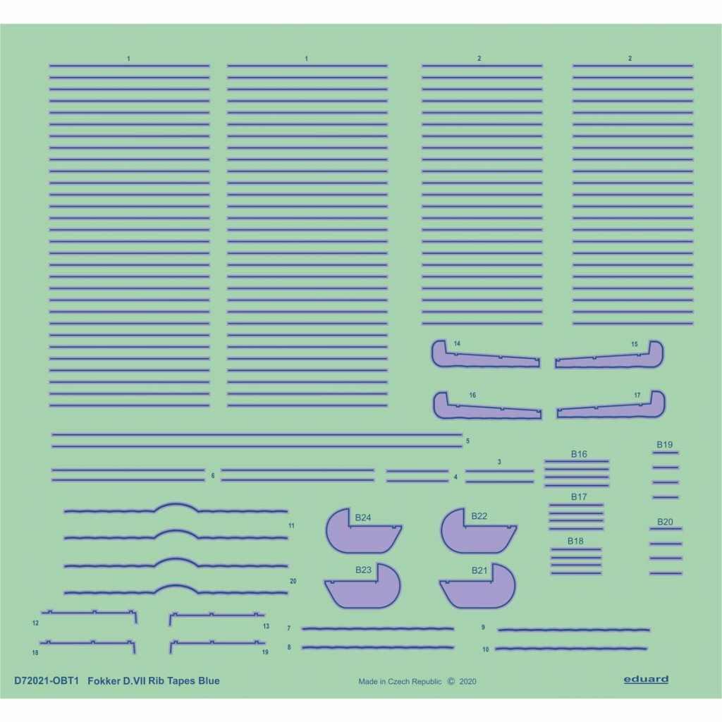 【新製品】D72021 フォッカーD.VII 青色リブテープ