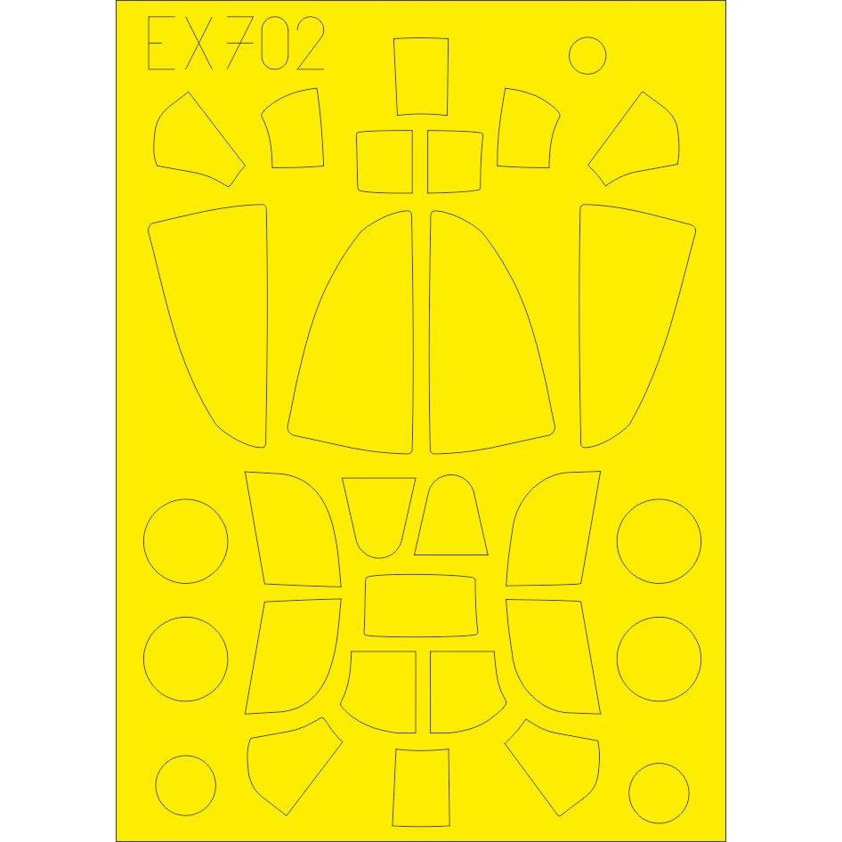 【新製品】EX702 ベル P-39/P-400 「Tフェース」両面塗装マスクシール (エデュアルド用)