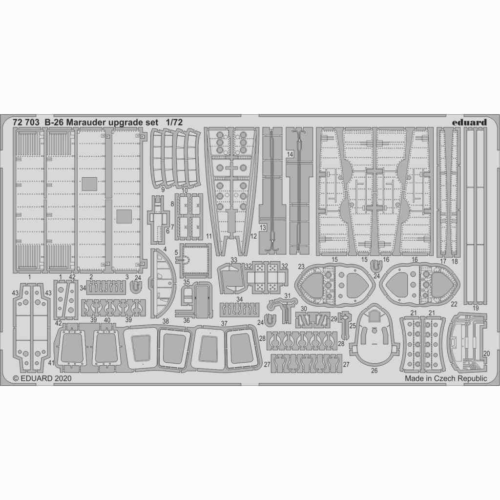 【新製品】72703 マーティン B-26 マローダー アップグレードエッチングパーツ(エデュアルド/ハセガワ用)