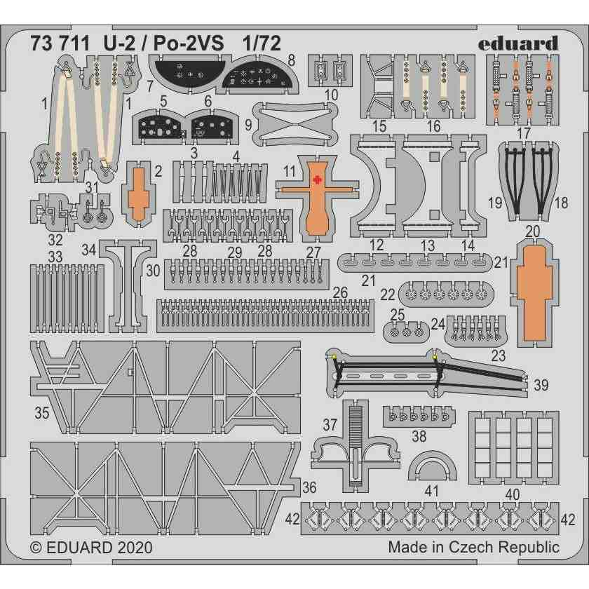 【新製品】73711 塗装済 ポリカルポフ U-2/Po-2VS エッチングパーツ (ICM用)