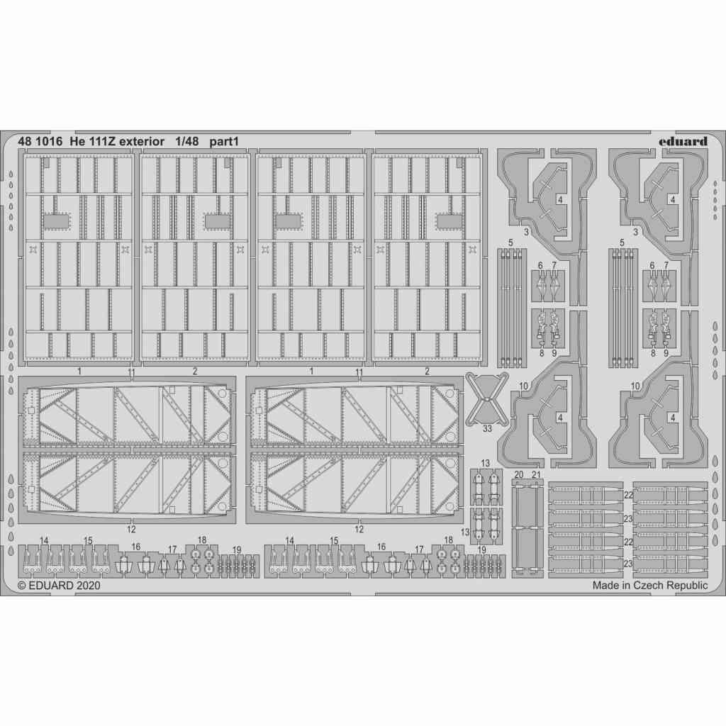 【新製品】481016 ハインケル He111Z 外装エッチングパーツ (ICM用)