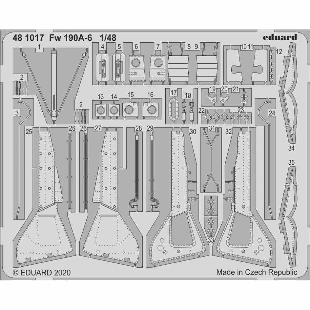 【新製品】481017 フォッケウルフ Fw190A-6 エッチングパーツ (エデュアルド用)