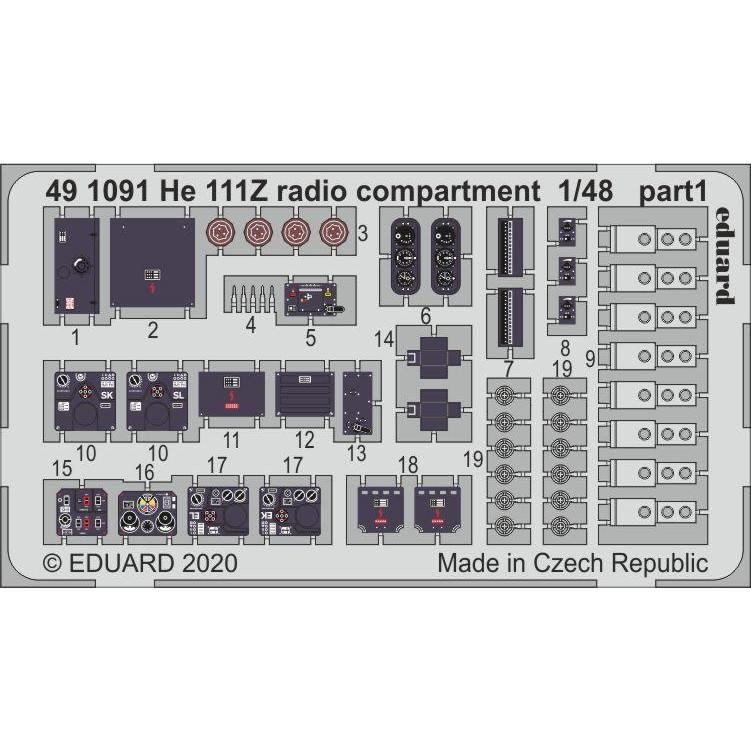 【新製品】491091 塗装済 ハインケル He111Z 無線室内装エッチングパーツ (ICM用)