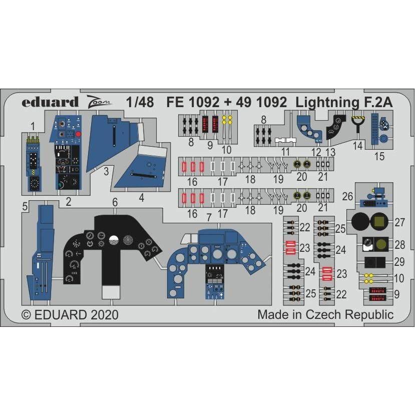 【新製品】491092 塗装済 E.E.ライトニング F.2A エッチングパーツ(エアフィックス用)