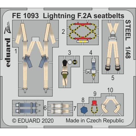 【新製品】FE1093 塗装済 E.E.ライトニング F.2A シートベルト (ステンレス製) (エアフィックス用)