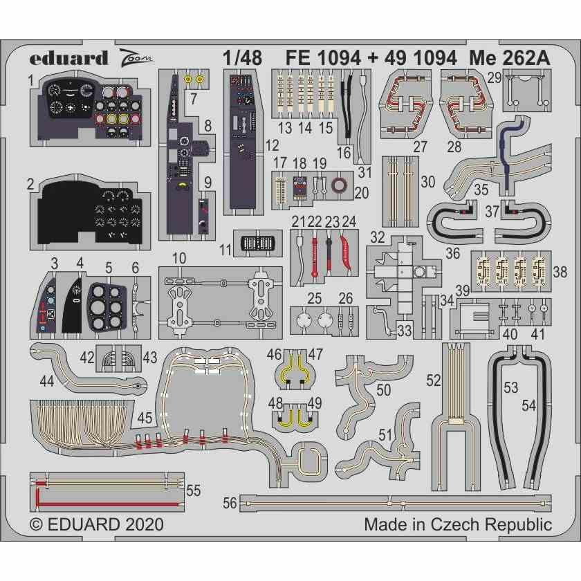 【新製品】FE1094 塗装済 メッサーシュミット Me262A ズームエッチングパーツ (ホビーボス用)