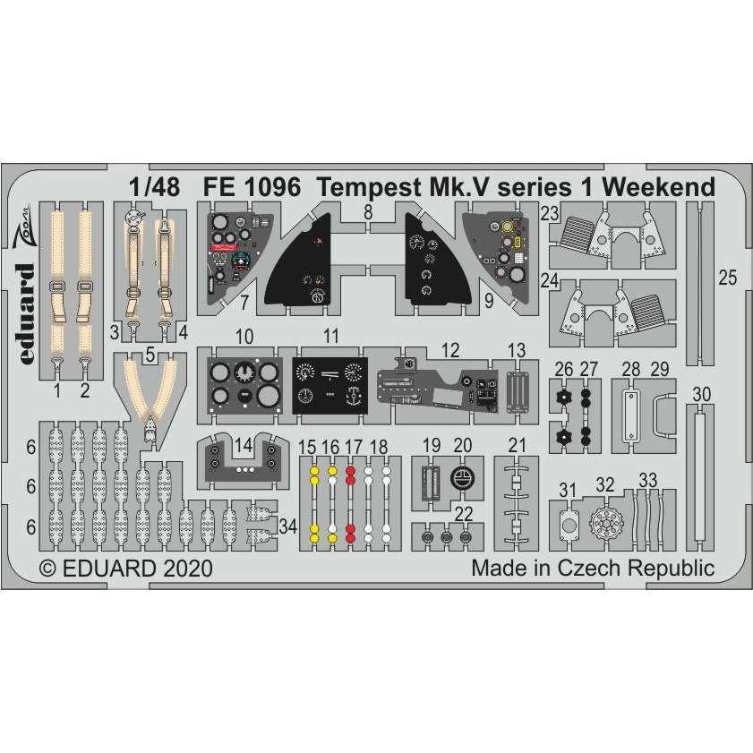 【新製品】FE1096 塗装済 ホーカー テンペスト Mk.V シリーズ1ズームエッチングパーツ (エデュアルド用)