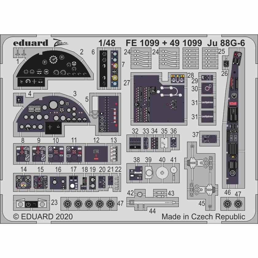 【新製品】FE1099 塗装済 ユンカース Ju88G-6 ズームエッチングパーツ (ドラゴン用)