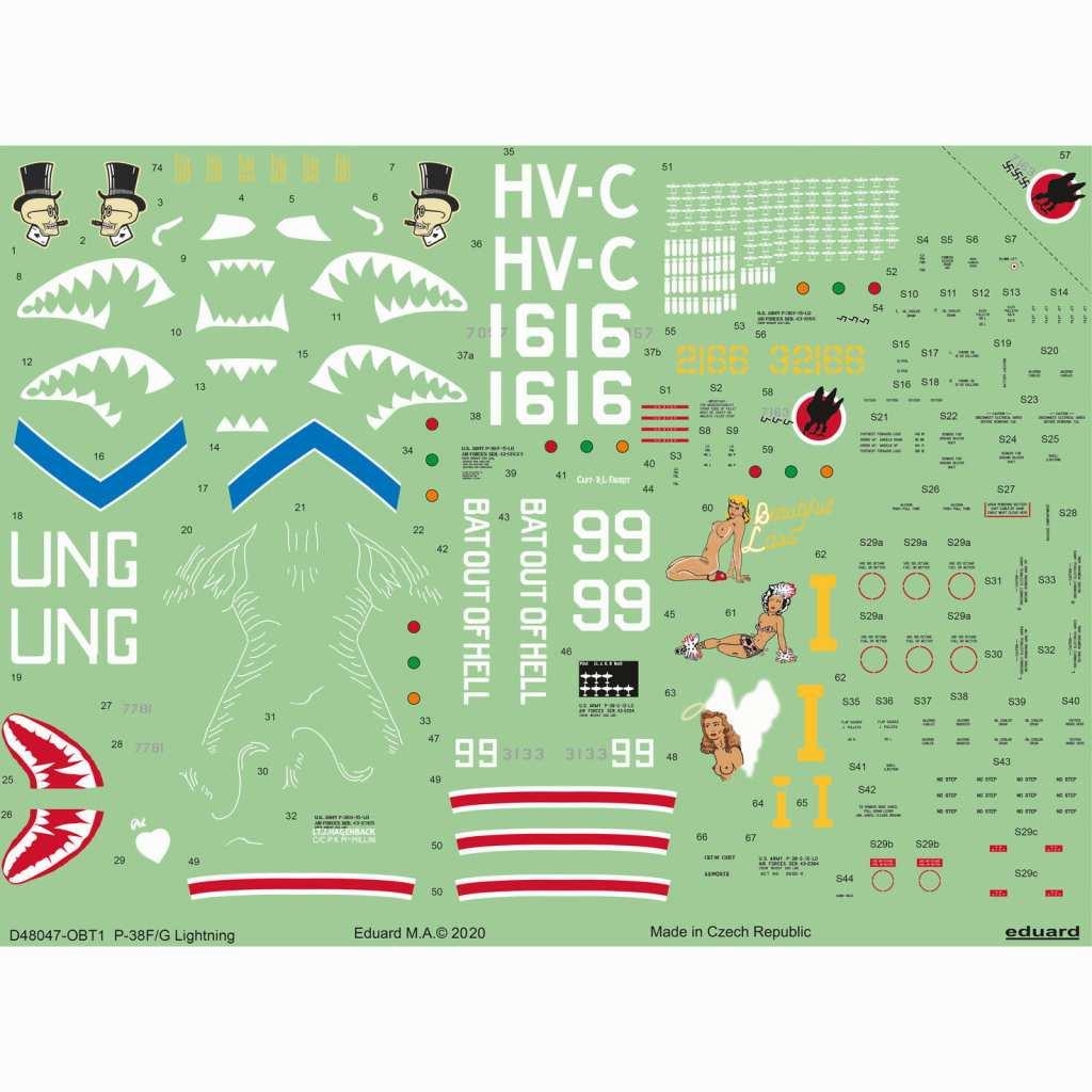 【新製品】D48047 ロッキード P-38F/G ライトニング デカール