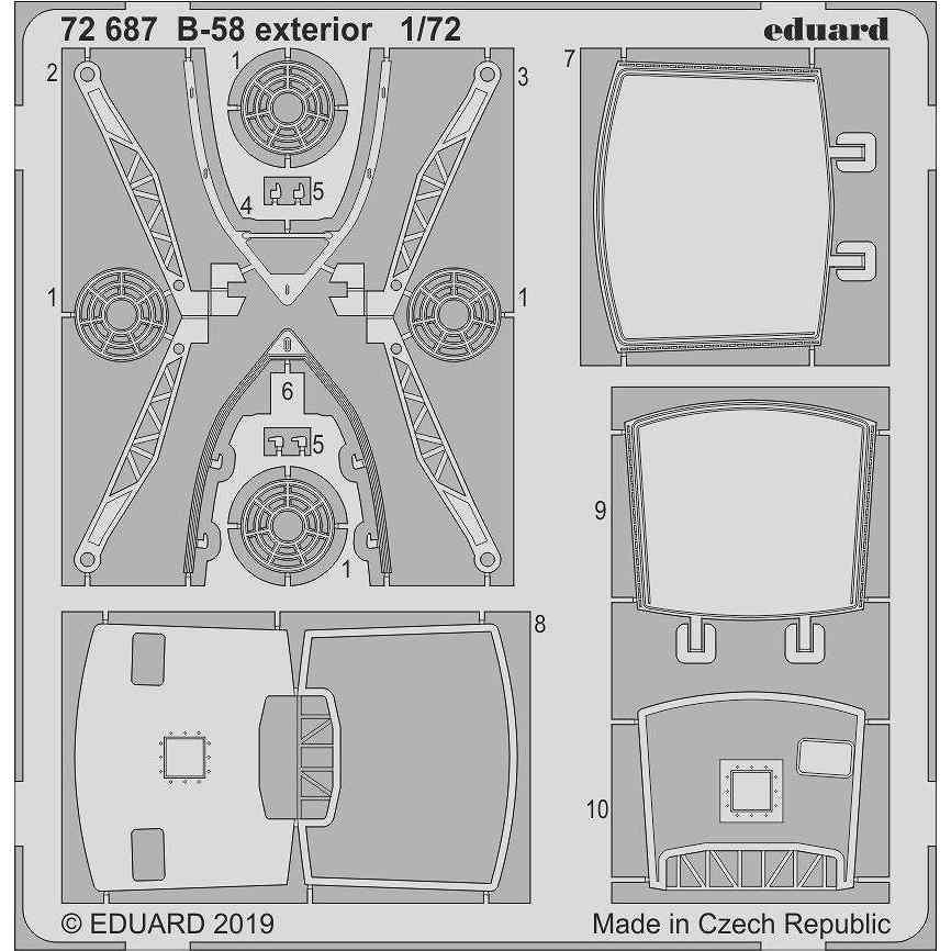 【新製品】72687 B-58 ハスラー 外装エッチングパーツ (イタレリ用)