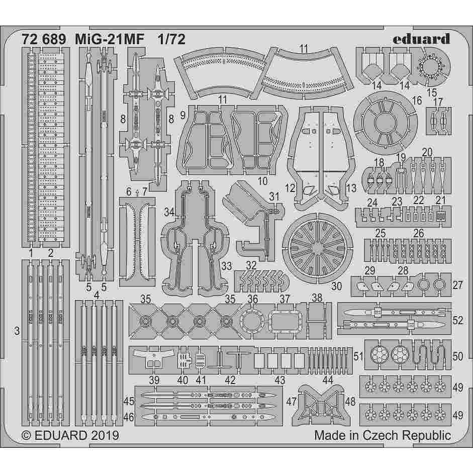 【新製品】72689 MiG-21MF フィッシュベッド エッチングパーツ (エデュアルド用)