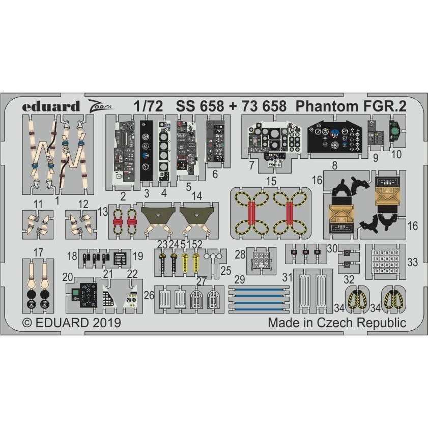 【新製品】73658 塗装済 ファントム FGR.2 エッチングパーツ (エアフィックス用)
