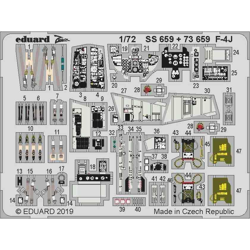 【新製品】73659 塗装済 F-4J ファントムⅡ エッチングパーツ (アカデミー用)