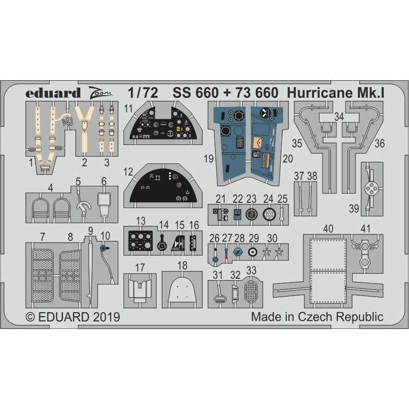 【新製品】73660 塗装済 ホーカー ハリケーン Mk.I エッチングパーツ(エアフィックス用)