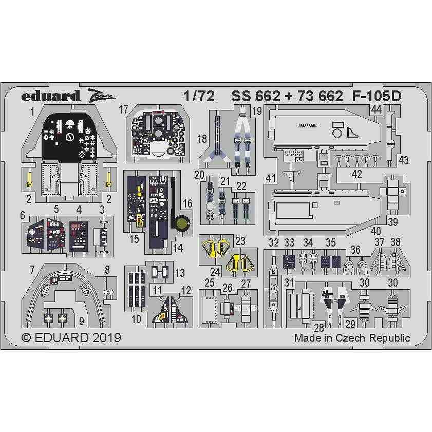 【新製品】73662 塗装済 リパブリック F-105D サンダーチーフ 内装エッチングパーツ (トランぺッター用)