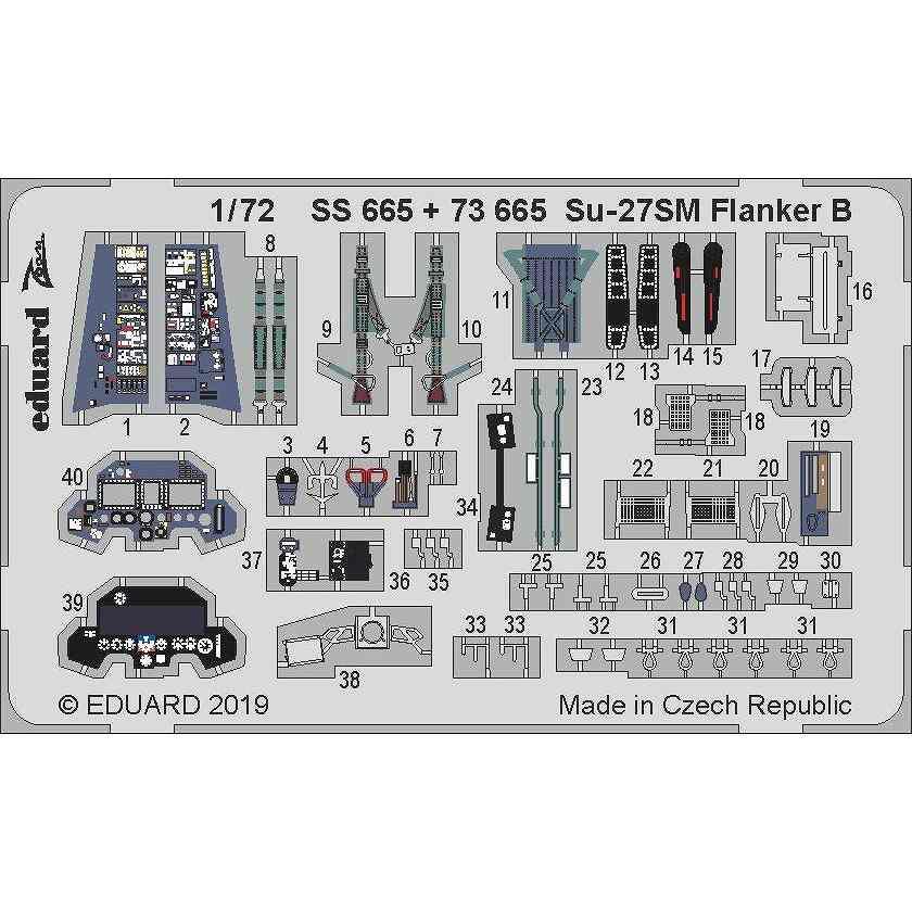 【新製品】73665 塗装済 スホーイ Su-27SM フランカーB エッチングパーツ (ズべズダ用)