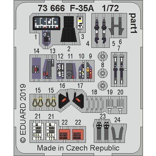 【新製品】73666 塗装済 ボーイング F-35A ライトニングII エッチングパーツ (アカデミー/童友社用)