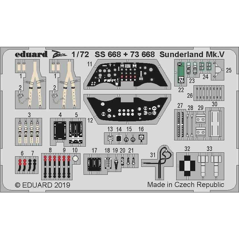 【新製品】73668 塗装済 ショート サンダーランド Mk.V 内装エッチングパーツ(スペシャルホビー用)