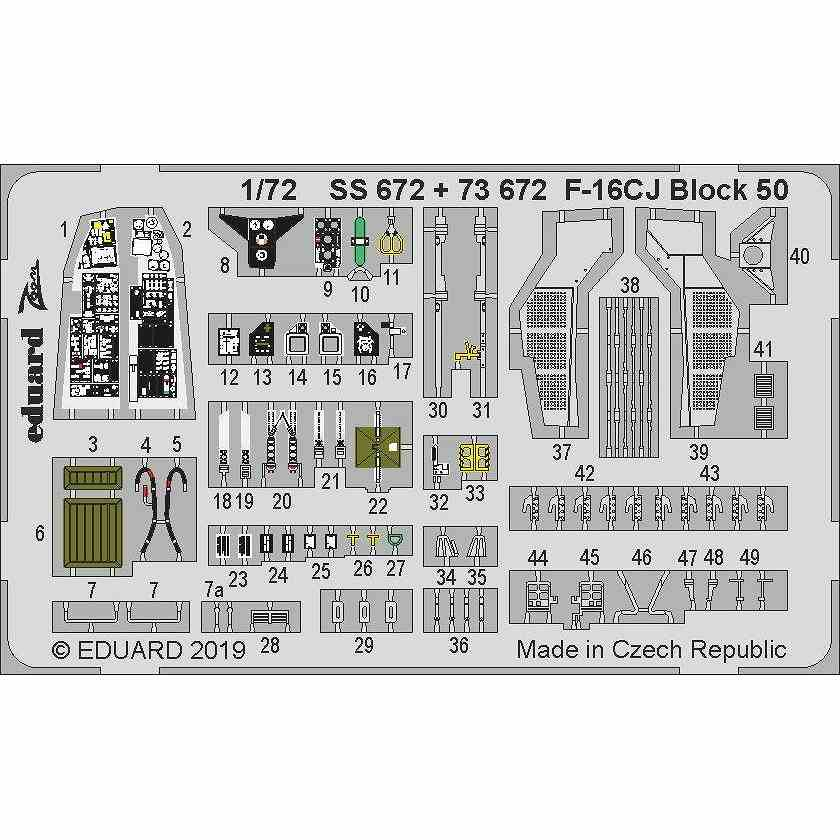 【新製品】73672 塗装済 F-16CJ ファイティングファルコン ブロック50 エッチングパーツ (タミヤ用)