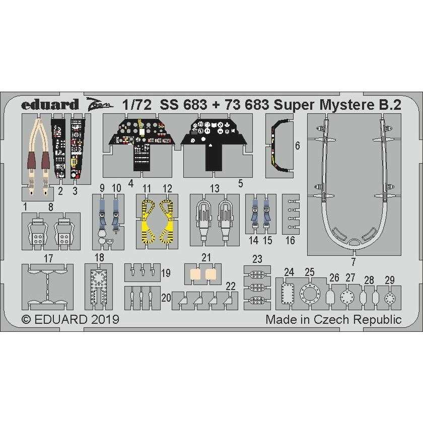 【新製品】73683 塗装済 ダッソー シュペルミステール B2 エッチングパーツ(アズールフロム/スペシャルホビー用)