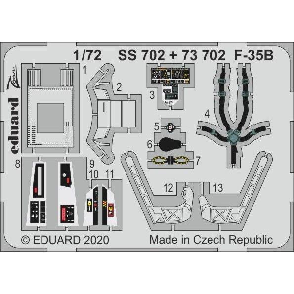 【新製品】73702 塗装済 ロッキード・マーティン F-35B エッチングパーツ (イタレリ用)