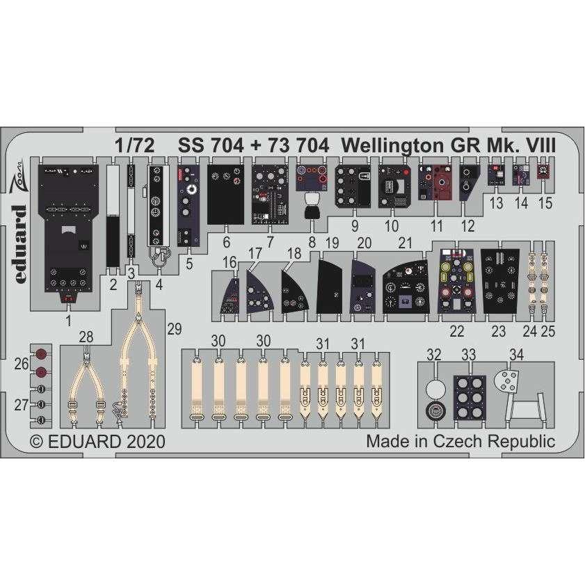 【新製品】73704 塗装済 ヴィッカース ウェリントン GR Mk.VIII エッチングパーツ(エアフィックス用)